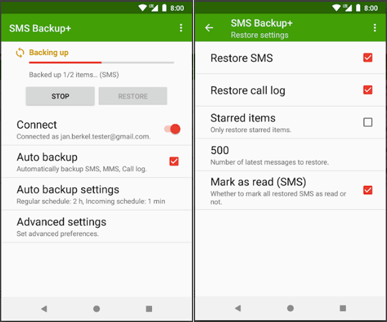copy text messages from android to android with sms backup plus