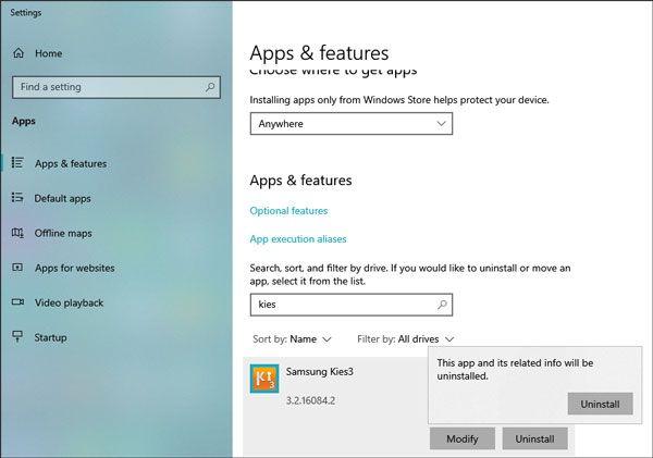 remove samsung kies from windows 10 pc
