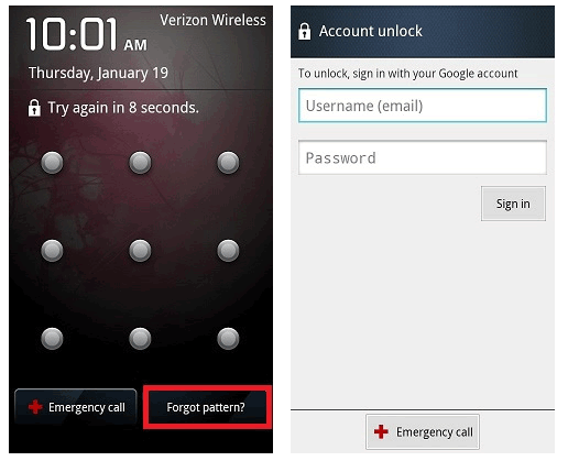 use forgot pattern feature as i locked out of the android phone
