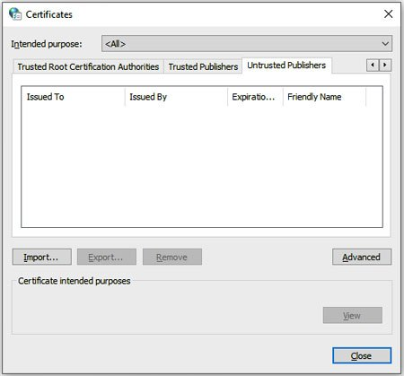 check the untrusted publishers for installing kies on windows 10 pc