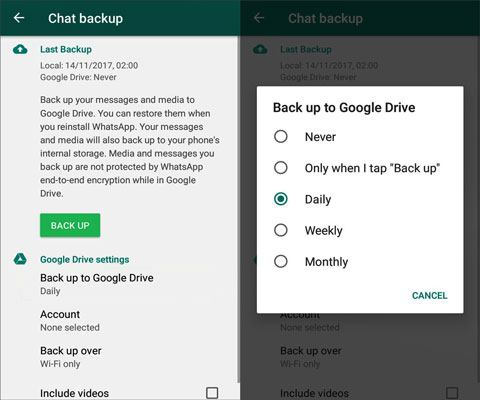 back up whatsapp mesasges from android to mac via google drive