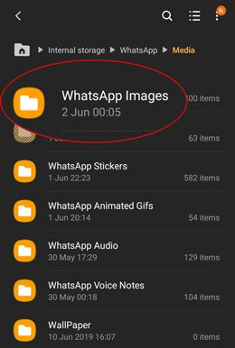 get deleted photos from whatsapp via the whatsapp images folder