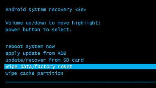 do the factory reset to repair android blue screen