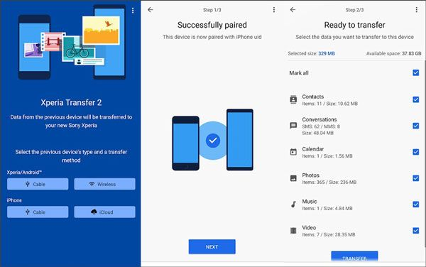 move files from one xperia to another via xperia transfer 2